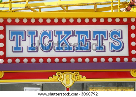 "Shot of a ""Tickets"" sign on the tickets booth in a fair.  Sandford, Florida."