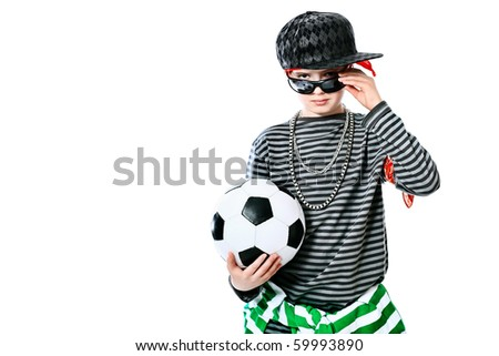 Shot of a trendy teenager standing with a ball. Isolated over white background.