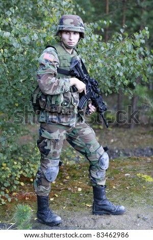 Shot of a young soldier. Uniform conforms to special services(soldiers) of the NATO countries.