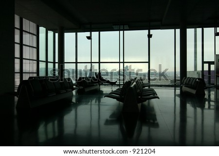 shot of an airport terminal. Quadtoned to bring out lighting. Taken in Zurich, Switzerland.