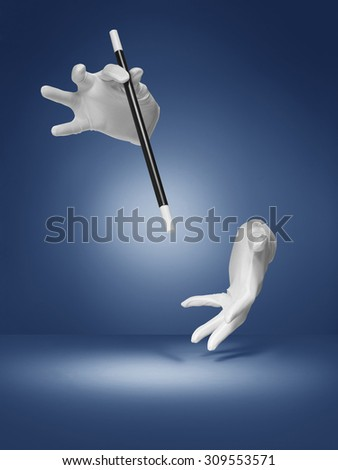 shot of an illusion or magic trick being performed by an invisible magician on a blue, halo, vignette style background.