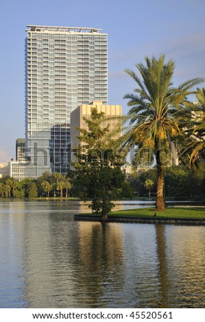 Shot of buildings in Downtown Orlando with palm trees in the foreground