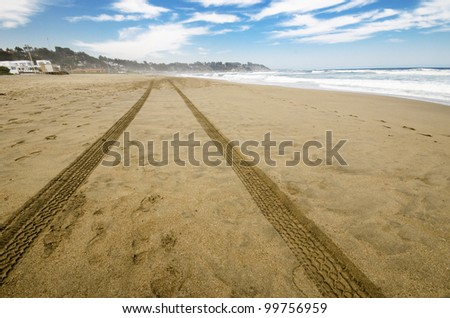 Shot of car tracks in the sand at the beach.