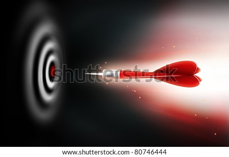 shot of darts in bullseye on dartboard on a dark background