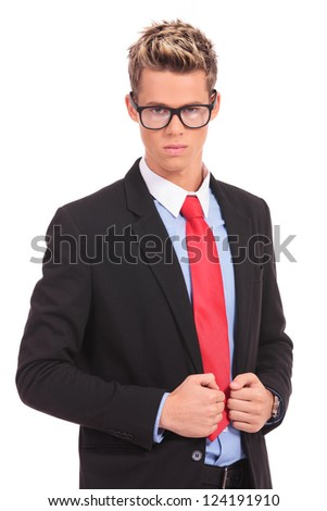 shot of executive wearing glasses on white background