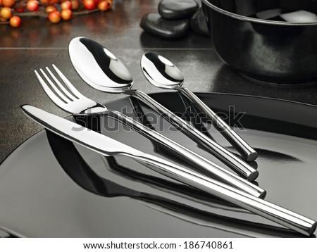 shot of fine cutlery on elegant background.