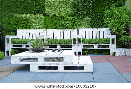 Outdoor Furniture Made of Pallets http://www.shutterstock.com/pic-100812187/stock-photo-shot-of-furniture-made-of-pallets-innovative-and-environmentally-friendly-way-to-decorate-the-yard.html