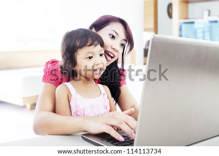 Shot of happy young mother and child with laptop computer. shot at home