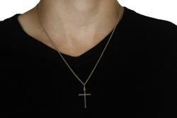Shot of man's neck with Christian cross(black t-shirt)