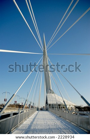 Shot of Provencher Bridge, from the west end facing east, with support cables converging to a focal point. #2228934
