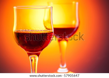 shot of red drink in glass