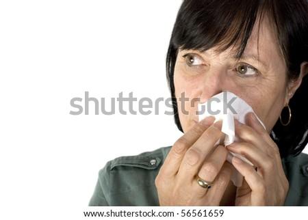 Shot of sad aged woman crying, isolated on white background.