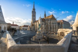 shot of the iconic Fisherman's bastion and Matthias church in Budapest. A beautiful sample of architecture and history just outside the city centre of Budapest, Hungary