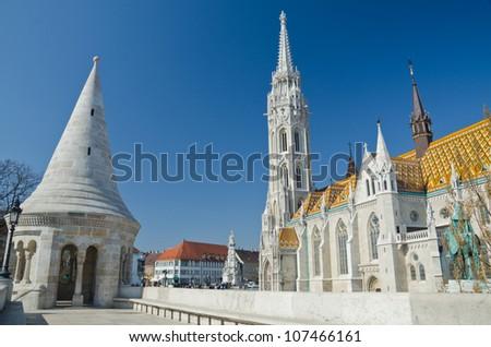 shot of the Matthias Church, Budapest, Hungary - stock photo