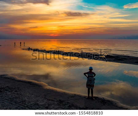 Shot of the sunset at the baltic sea. Sunset at beach stock photo