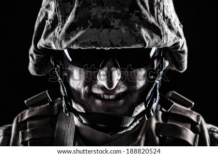 Shot of US marine face with grin on his face