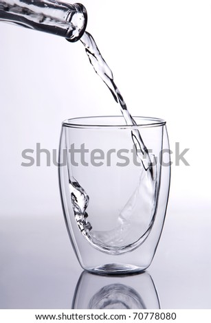 Shot of water falling into a glass.