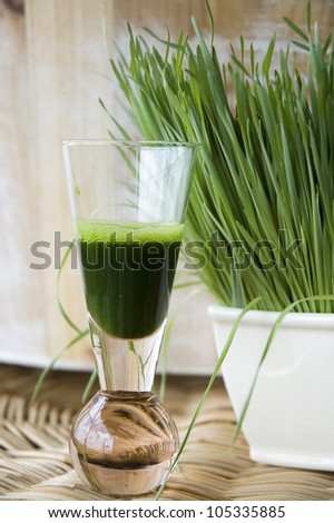 shot of wheat grass juice with fresh wheat grass