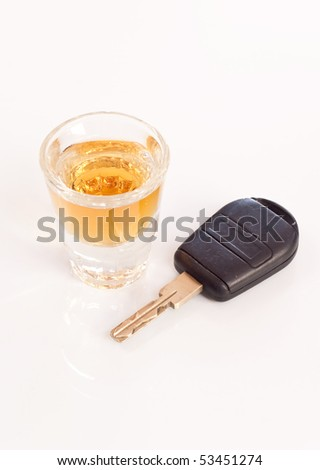 Shot of Whiskey and Car Key ( Drunk Driving Concept )