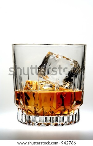 Shot of whiskey on ice.
