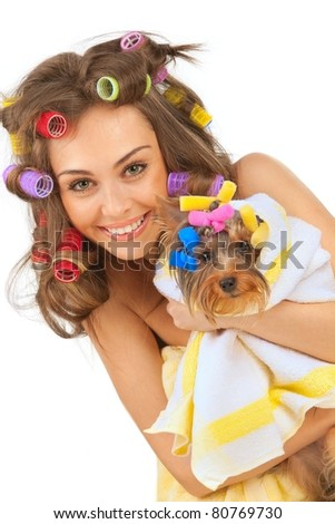 stock photo : Shot of young adult female with Yorkshire Terrier dog