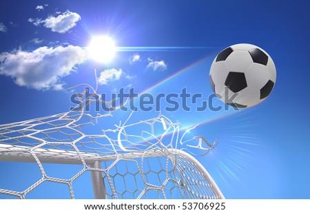 shot on goal, soccer ball tears off the net