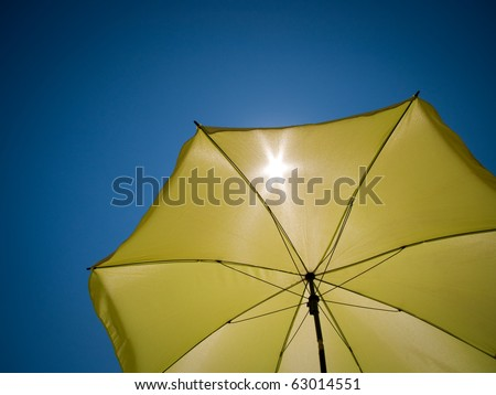 shot taken under a green umbrella against the perfect blue sky