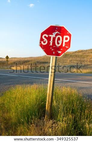 Shot traffic sign