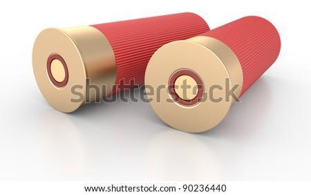 Shotgun Shells Cartridges 12 caliber on White Background