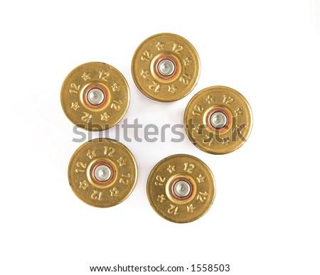 Shotgun Shells isolated. Shotgun shells in pistol bullet formation
