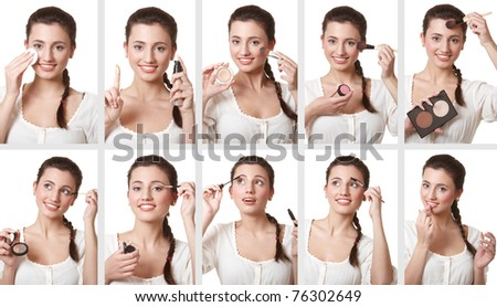 Shots of makeup application by attractive girl in consecutive order