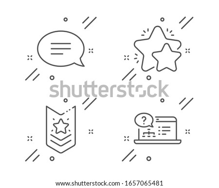 Shoulder strap, Chat and Star line icons set. Online help sign. Star rank, Speech bubble, Customer feedback. Web support. Business set. Line shoulder strap outline icon.