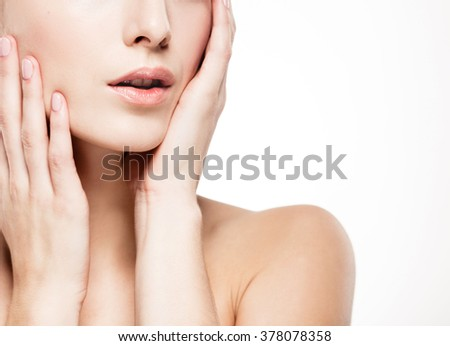 Shoulders hands fingers lips woman studio skin portrait isolated on white  #378078358