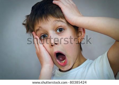 Shouting little boy - stock photo