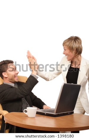 Shouting successful business man-woman team -  clapping in hands