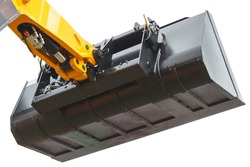 Shovel of excavator or bulldozer. Detail of part of hydraulic and pneumatic mechanism using in industrial machine. White background. Technology