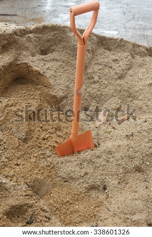 Shovel (spade) and sand for construction #338601326