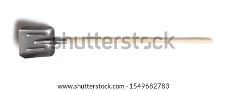 Shovel with a wood handle isolated on white background. Metal work tool with wooden handle Stock fotó ©