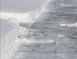 Shoveled Snow Sidewalk
