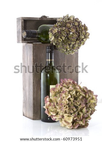 Show case with empty wine bottles on a white background.