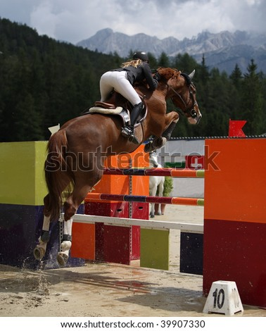 Show jumping (all trademarks removed -> lots of copy space)