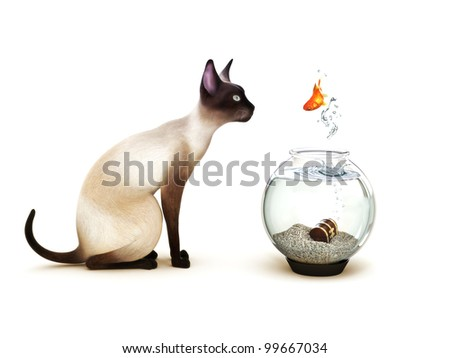 Show no fear, Fish jumping out of a fish bowl in front of a cat. Humor, Part of an animal theme series.