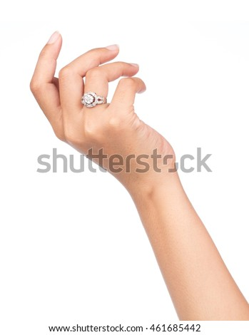 Show ring on finger isolated on white background
