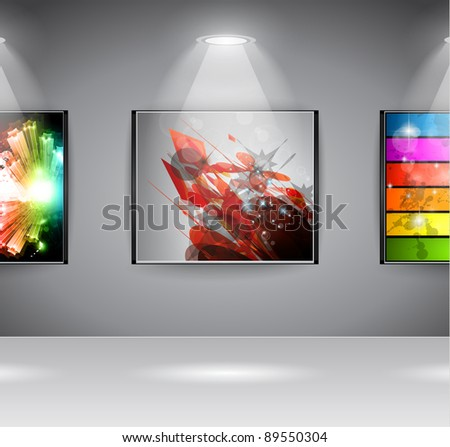 Show Room Art Gallery exposition or advertising of object or to use like an intro webpage for website modern project.