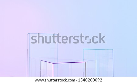 Showcase for products, goods, medical laboratories. Empty glass exhibition stand, platform in neon light. Podium, platform with glass balls in the room for shops, advertising, business - 3D, render.