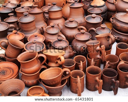 Showcase of handmade ceramic pottery in a roadside market