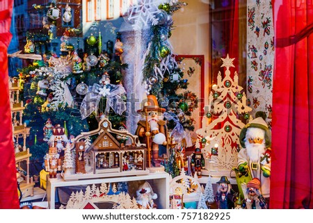 Showcase of shop with Christmas vintage old traditional decoration, Germany