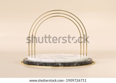Showcase stand mockup for products to sell or promote. Set sail champagne and fortuna gold 2021 trending colors. 3d render illustration. Foto d'archivio ©