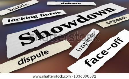 Showdown Face-Off Dispute Newspaper Headlines 3d Illustration
