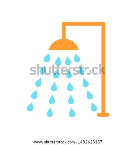Shower emblem isolated raster icon in cartoon style. Douche with drops of water floating in several flow, place for bathing, single simple badge.